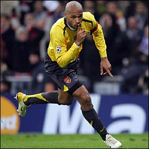 Thierry Henry celebrates after scoring at the Bernabeu