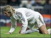 Real Madrid midfielder David Beckham in action against Arsenal