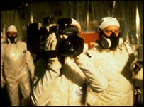 Film crew inside Chernobyl