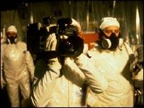 Film crew inside Chernobyl
