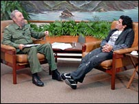 Cuban president Fidel Castro is interviewed by Maradona