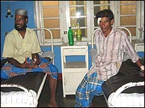 Injured men in Trincomalee Hospital. Photo: RG Dharamadasa