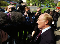 Lord Kinnock speaks to the media after the court case