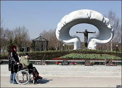 Man at Moscow memorial