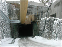 Entrance to the Onkalo tunnel.  Image: BBC