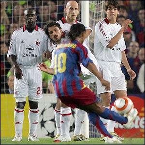 Ronaldinho takes a free-kick