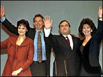 Cherie and Tony Blair and John and Pauline Prescott