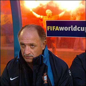 Scolari looks on as Portugal face Slovakia in the group stages of the 2006 World Cup