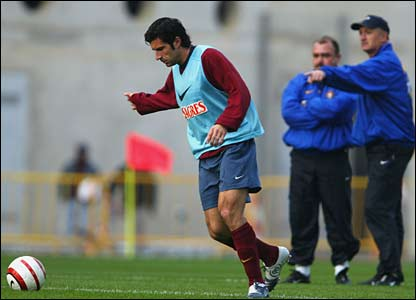 Scolari oversees coaching with the Portugal team and Luis Figo