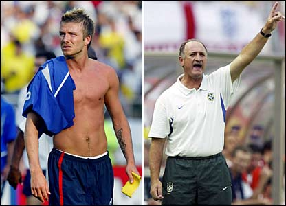 England's David Beckham and Luiz Felipe Scolari