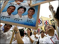 Singapore's People's Action Party supporters at a rally