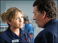 Actors Tina Hobley (as Chrissie Williams) and Robert Powell (as Mark Williams)