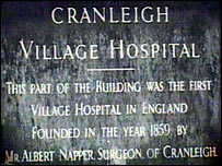 Cranleigh Village Hospital sign