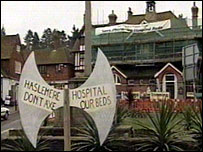 Campaign signs outside Haslemere Hospital