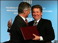 BASF's Juergen Hambrecht and Gazprom's Alexij Miller