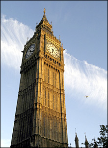 Big Ben's clock at the Palace of Westminster