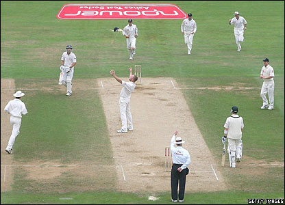 England cricketer Andrew Flintoff celebrates taking an Australian wicket