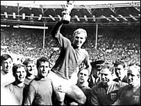Bobby Moore holds the World Cup aloft