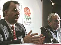 RFU chief executive Francis Baron (left) and Management Board chairman Martyn Thomas