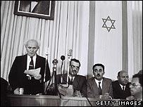 David Ben Gurion reads Israel's declaration of independence in 1948