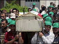 Iraqi men carry Meysoun al-Hashemi's coffin during her funeral procession