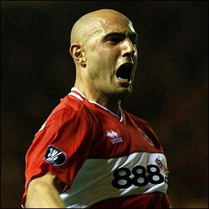 Maccarone celebrates scoring the crucial winner