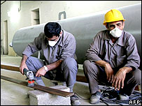 Workers at Iran's Bushehr nuclear power plant