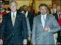 George W Bush and Pervez Musharraf