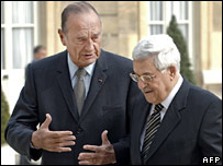 Jacques Chirac (left) and Mahmoud Abbas