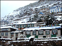 the town of Namche during spring