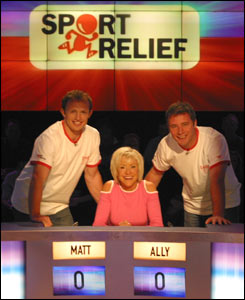 Matt Dawson, Sue Barker and Ally McCoist prepare to face the boys from They Think it's All Over