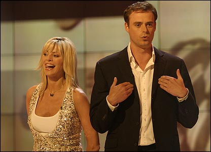 Strictly Come Dancing host Tess Daly and Jamie Theakston