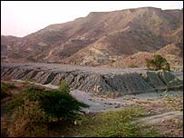 View of toxic dump site near Baghalchur, northern Pakistan