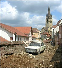 Roadworks in Sibiu