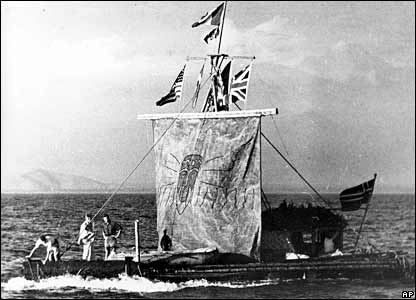 The Kon-Tiki expedition is shown after its arrival at Papeete, Tahiti, Polynesia, in 1947