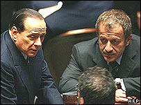 Outgoing PM Silvio Berlusconi (left) with allies, 28 Apr 06