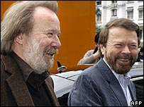 Abba stars Bjorn Ulvaeus (left) and Benny Andersson