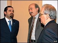 Lebanese politicians Saad Hariri, Walid Jumblatt, and Marwan Hamadeh