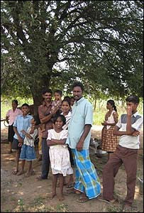Amrithalingam and his family in the remote village of Paddalipuram