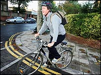 David Cameron on his bike