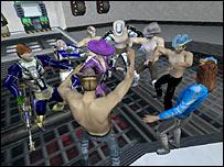Screen shot of a virtual party