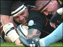 Dragons skipper Jason Forster celebrates another try