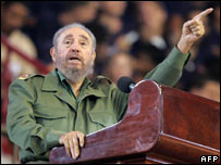 Cuban President Fidel Castro delivers a speech on 24 April 2006