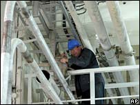 Technician at Bushehr nuclear power plant