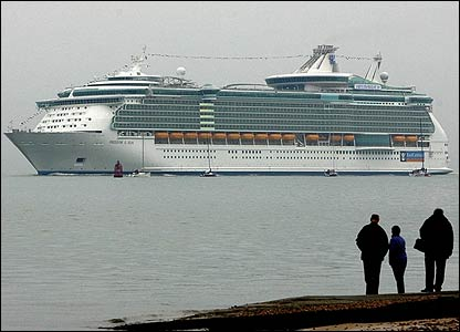 The liner is being prepared for a trans-Atlantic trip to New York