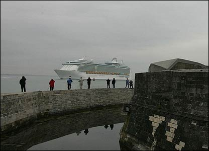 The Freedom of the Seas docked in Southampton on Saturday