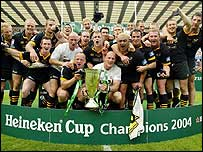 Wasps celebrate their Heineken Cup victory in 2004
