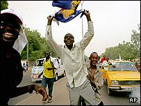 Supporters of the ruling Patriotic Salvation movment in Ndjamena