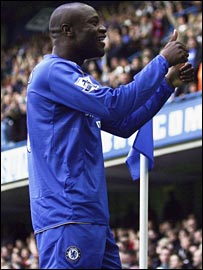 William Gallas celebrates putting Chelsea ahead at Stamford Bridge