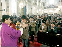 A Roman Catholic congregation in Beijing